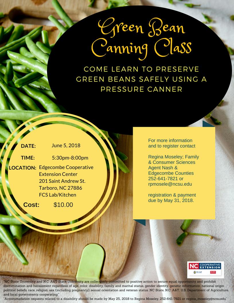 Green bean canning class flyer image