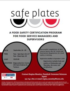 Cover photo for Safe Plates Class September 26-28, 2018