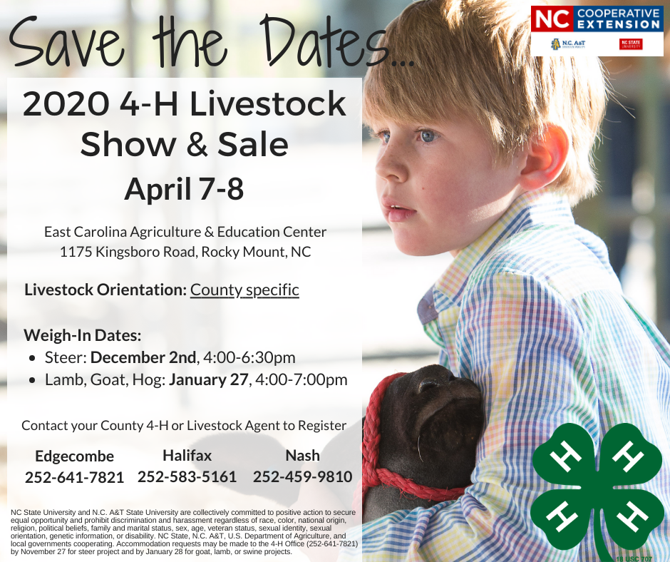 Save the Date for 2020 4-H Livestock Show & Sale: April 7-8