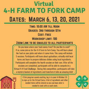Virtual 4-H Farm to Fork Camp march 6, 13, 20 2021