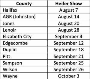 Heifer Schedule ECSC